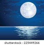 moonlit path on the sea   Shutterstock . vector #225449266