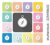 compass icon color set vector...