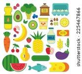 healthy food set | Shutterstock .eps vector #225467866