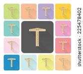 t square ruler icon color set...