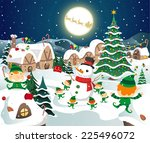 christmas night celebration on... | Shutterstock .eps vector #225496072