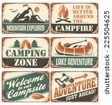 set of vintage outdoor camp... | Shutterstock .eps vector #225504625