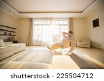 rear view of man relaxing on... | Shutterstock . vector #225504712