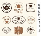 Stock vector set of labels on theme tea tradition of tea time tea logo 225519832