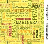 pizza words  tags. seamless... | Shutterstock .eps vector #225535312