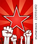 fists up supporting the... | Shutterstock .eps vector #225551452