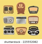 retro revival radios tuner... | Shutterstock .eps vector #225552082
