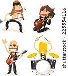 famous rock band musicians... | Shutterstock .eps vector #225554116