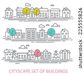 cityscape set of buldings. city ... | Shutterstock .eps vector #225555826
