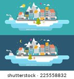 Flat Style Snowing Town Vector...