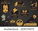 collection of halloween themed... | Shutterstock .eps vector #225574372