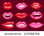 hot lips vector cartoon... | Shutterstock .eps vector #225588706