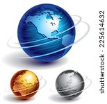 three brushed metal globes.... | Shutterstock .eps vector #225614632