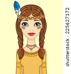 animation girl in the indian's...   Shutterstock .eps vector #225627172