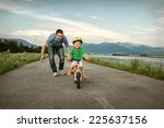 happiness father and son on the ... | Shutterstock . vector #225637156