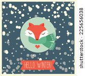 winter card with cute happy fox ...   Shutterstock .eps vector #225656038