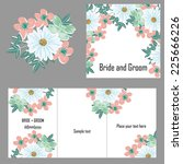 set of invitations with floral... | Shutterstock .eps vector #225666226