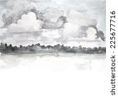 grey watercolor clouds. vector  | Shutterstock .eps vector #225677716