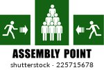 green assembly point sign  | Shutterstock .eps vector #225715678
