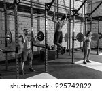 barbell weight lifting group... | Shutterstock . vector #225742822