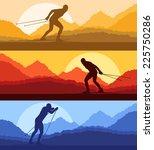 cross country skiing vector... | Shutterstock .eps vector #225750286