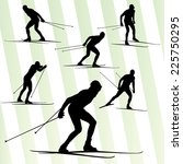 cross country skiing vector... | Shutterstock .eps vector #225750295