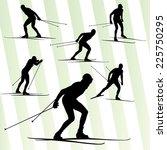 cross country skiing vector...   Shutterstock .eps vector #225750295