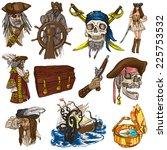 pirates  buccaneers and sailors ...   Shutterstock . vector #225753532