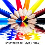 colored pencils on water | Shutterstock . vector #22577869