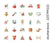 set of flat design cute baby... | Shutterstock .eps vector #225799222