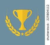 laurel wreath and trophy cup.... | Shutterstock .eps vector #225804112