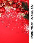 christmas decorations on red... | Shutterstock . vector #225808522