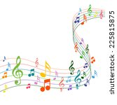 color music notes on a solide... | Shutterstock .eps vector #225815875