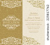 baroque invitation card in old... | Shutterstock .eps vector #225817762
