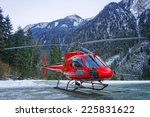 Red Helicopter On The Base In...