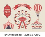 set of vintage funfair symbols. ... | Shutterstock .eps vector #225837292