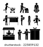 set of shoppers and shopping... | Shutterstock .eps vector #225859132