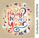 shiny 2015 happy new year... | Shutterstock .eps vector #225879046
