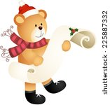 teddy bear with wishlist for... | Shutterstock .eps vector #225887332