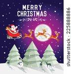 christmas tree in snowy night... | Shutterstock .eps vector #225888886