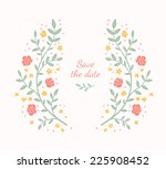 floral frame. cute retro... | Shutterstock .eps vector #225908452