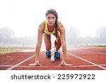 athlete on the starting blocks   Shutterstock . vector #225972922