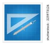 blueprint and ruler instruments ... | Shutterstock .eps vector #225973126