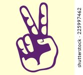 retro vintage hand victory sign ... | Shutterstock .eps vector #225997462