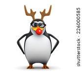 3d Render Of A Penguin Wearing...