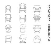 flat line armchair icons set.... | Shutterstock .eps vector #226019122