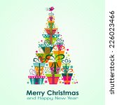 christmas greeting card  vector ... | Shutterstock .eps vector #226023466