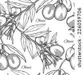 seamless pattern with olive... | Shutterstock .eps vector #226059706