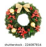 christmas decorative wreath... | Shutterstock . vector #226087816