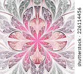 Red Fractal Flower  Digital...